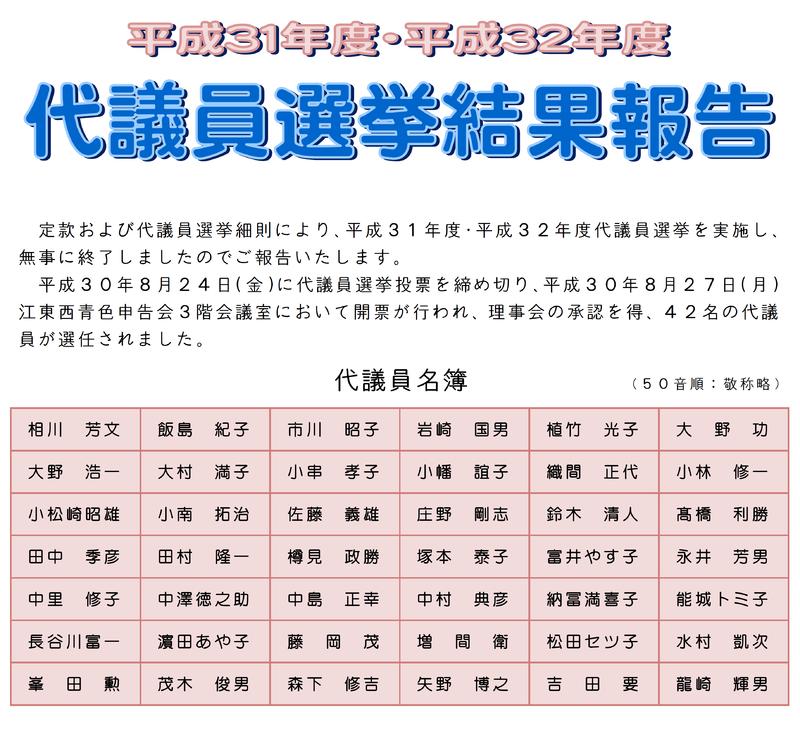 代議員選挙結果報告
